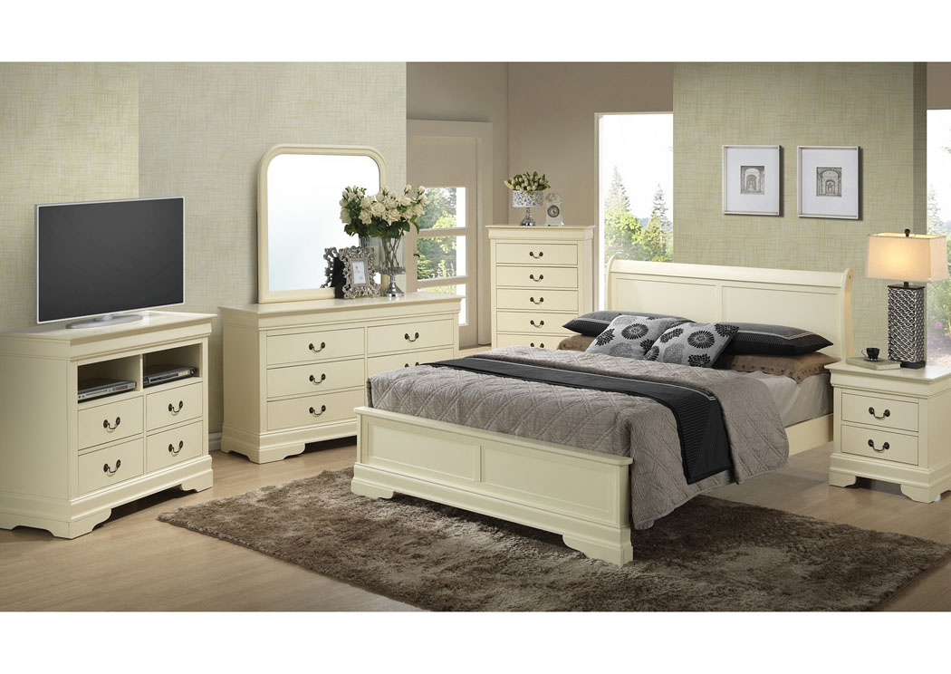 Beige King Low Profile Bed, Dresser, Mirror, Chest U0026 Night Stand,Glory