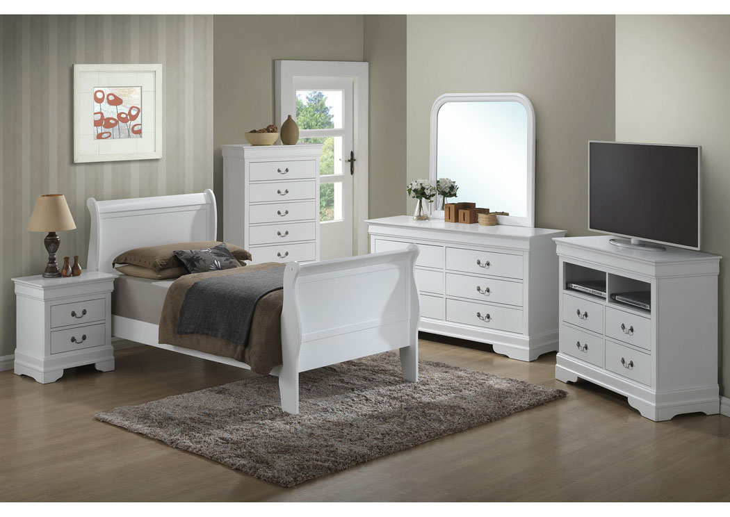 White Twin Sleigh Bed, Dresser, Mirror, Chest & Night Stand,Glory Furniture