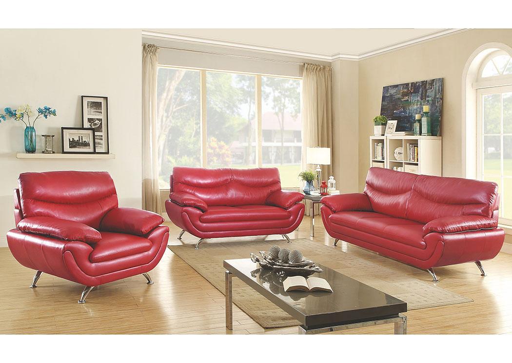 Market Furniture - Paterson, NJ Halo Red Faux Leather Sofa