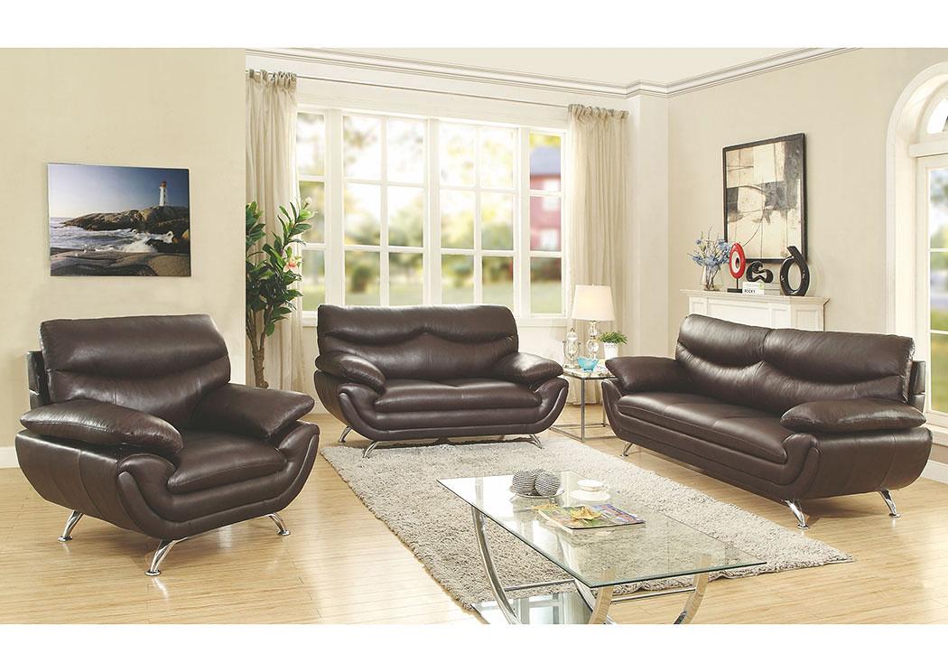 American Furniture Design Halo Cappuccino Faux Leather Sofa and Love ...