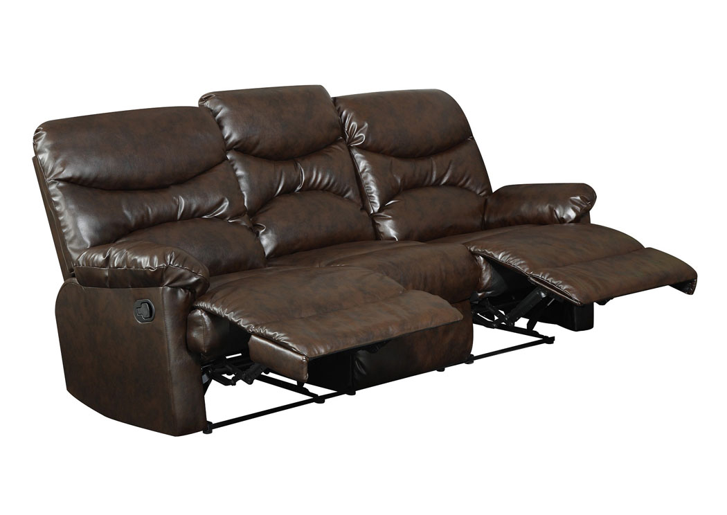 Bay shore furniture bay shore ny brown bonded leather for Double leather sofa