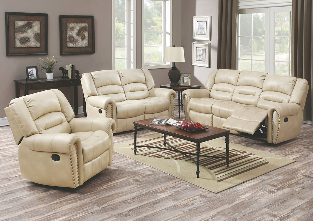 Beige Bonded Leather Reclining Sofa U0026 Loveseat,Glory Furniture