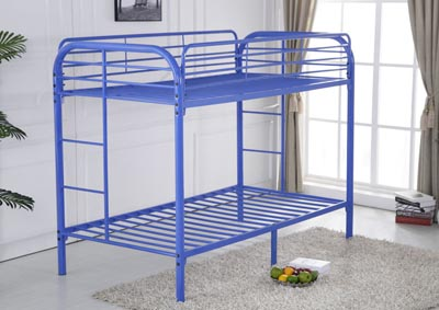 Blue Twin/Twin Bunkbed w/ Bracket