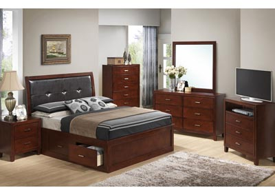 Cherry Queen Storage Bed, Dresser, Mirror, Chest & Night Stand