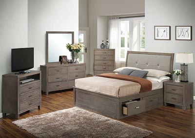 Gray Queen Storage Bed, Dresser, Mirror, Chest & Night Stand