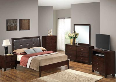 Cappuccino Queen Bed, Dresser, Mirror, Chest & Night Stand