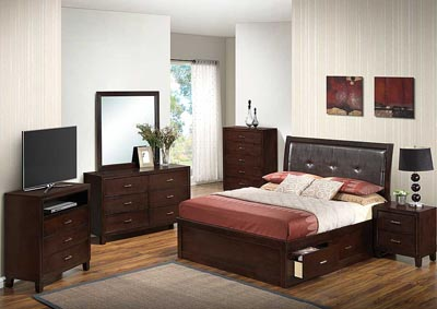 Cappuccino Queen Storage Bed, Dresser, Mirror, Chest & Night Stand