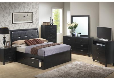 Black Queen Storage Bed, Dresser, Mirror, Chest & Night Stand