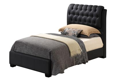 Black Twin Upholstered Bed