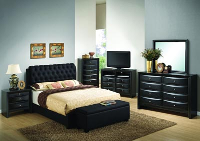 Black Queen Upholstered Bed, Dresser, Mirror, Chest & Night Stand