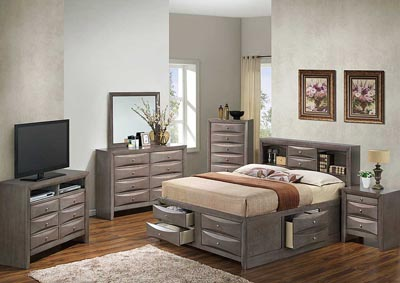 Gray Queen Storage Bookcase Bed, Dresser, Mirror, Chest & Night Stand