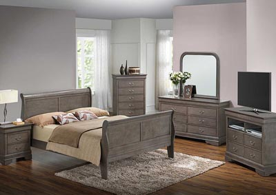 Grey Queen Sleigh Bed, Dresser, Mirror, Chest & Nightstand