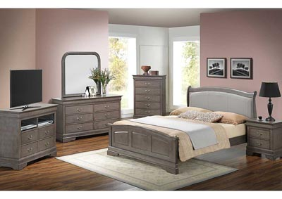 Grey Queen Low Profile Bed w/ PU Insert, Dresser, Mirror, Chest & Nightstand