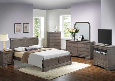 Grey Queen Low Profile Bed, Dresser, Mirror, Chest & Nightstand