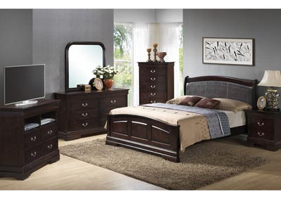 Cappuccino Queen Low Profile Upholstered Bed, Dresser, Mirror, Chest & Night Stand