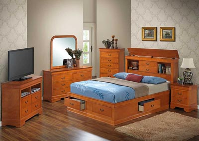 Oak Queen Storage Bed, Dresser, Mirror, Chest & Nightstand