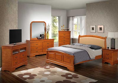 Oak Queen Low Profile Bed w/ PU Insert, Dresser, Mirror, Chest & Nightstand