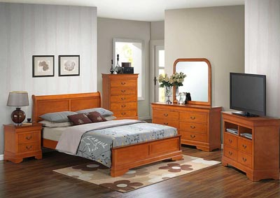 Oak Queen Low Profile Bed, Dresser, Mirror & Nightstand