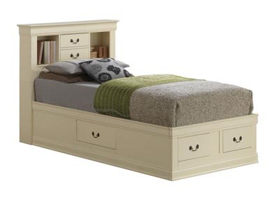 Beige Full Storage Bookcase Bed
