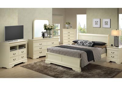 Beige Queen Low Profile Bed, Dresser, Mirror, Chest & Night Stand