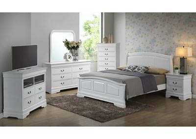 White Queen Low Profile Upholstered Bed, Dresser, Mirror, Chest & Night Stand
