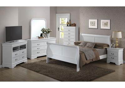 White Queen Sleigh Bed, Dresser, Mirror, Chest & Night Stand