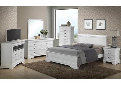 White Queen Low Profile Bed, Dresser, Mirror, Chest & Night Stand