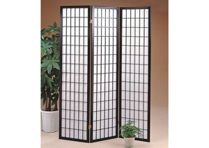 Black 3 Panel Shoji Screen