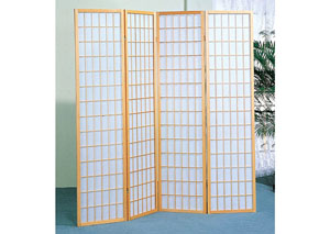 Oak Wood 4 Panel Shoji Screen