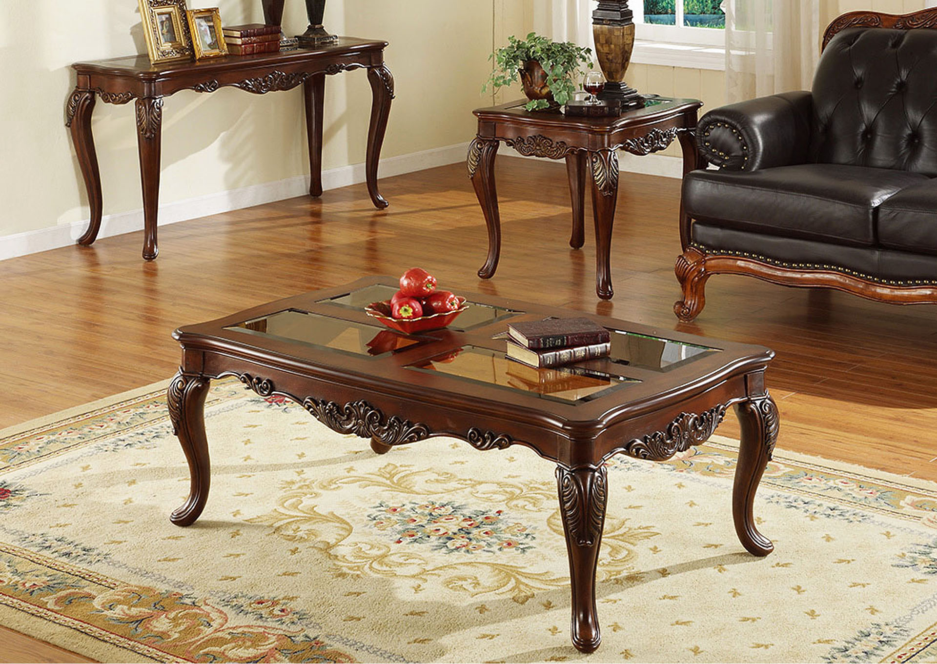 Ella Martin Warm Brown Cherry Square End Table,Homelegance