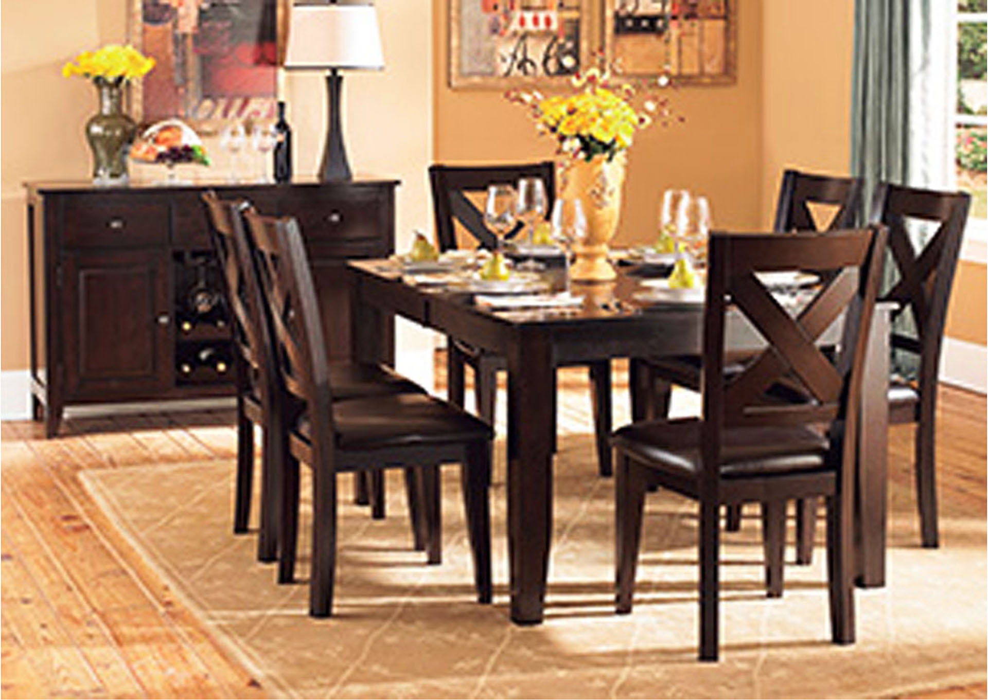 Crown Point Merlot Dining Room Table w/4 Side Chairs,Homelegance