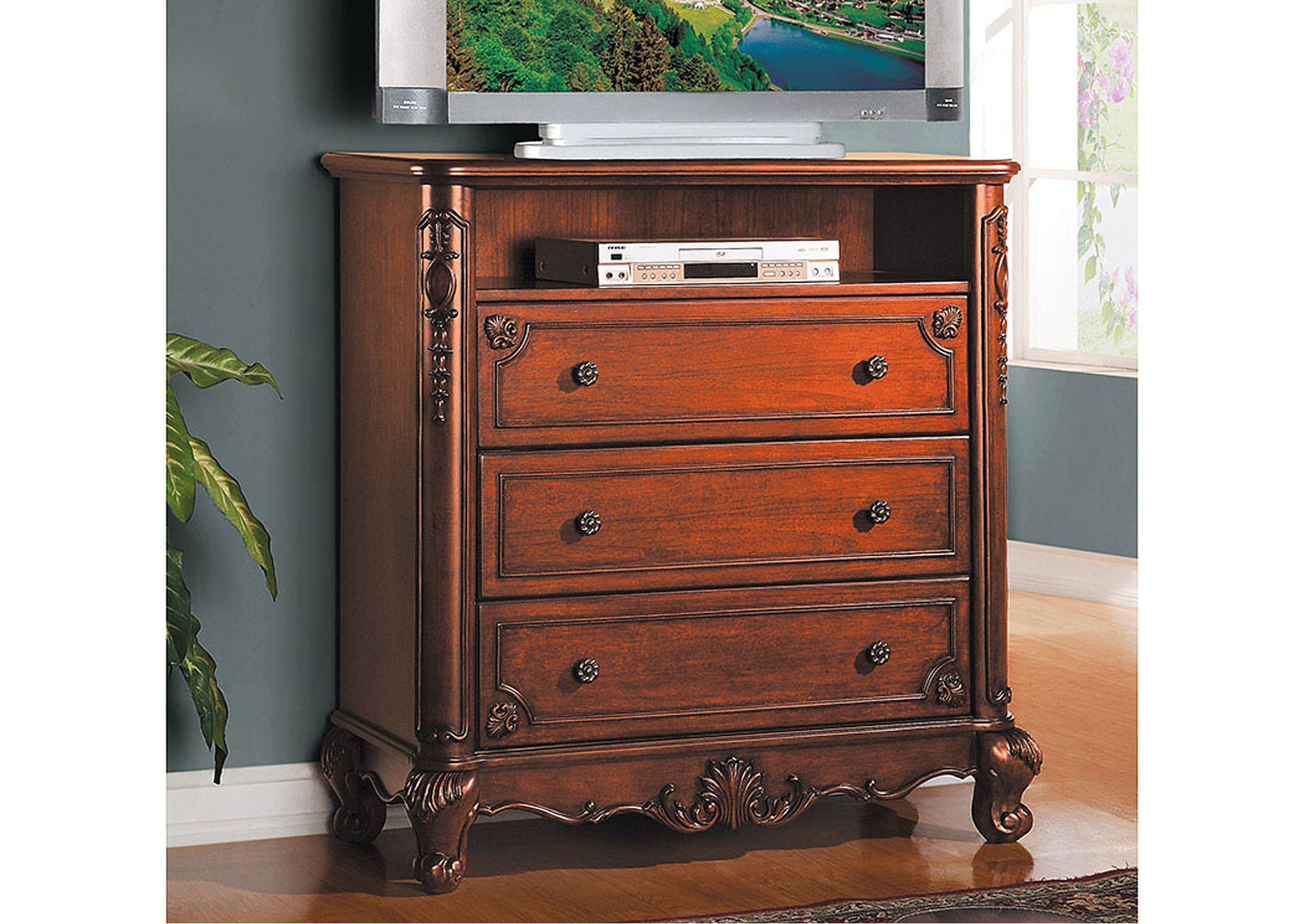 Madaleine Warm Cherry TV Chest,Homelegance