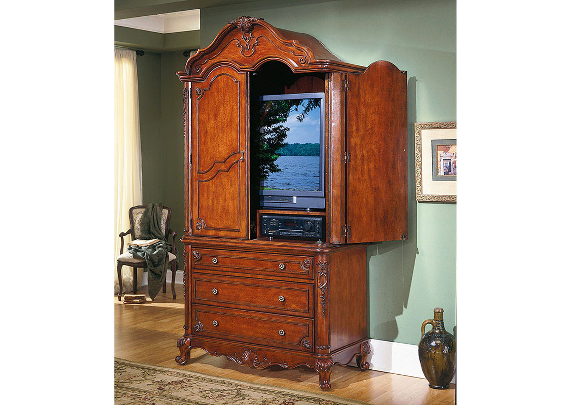Madaleine Warm Cherry Armoire,Homelegance