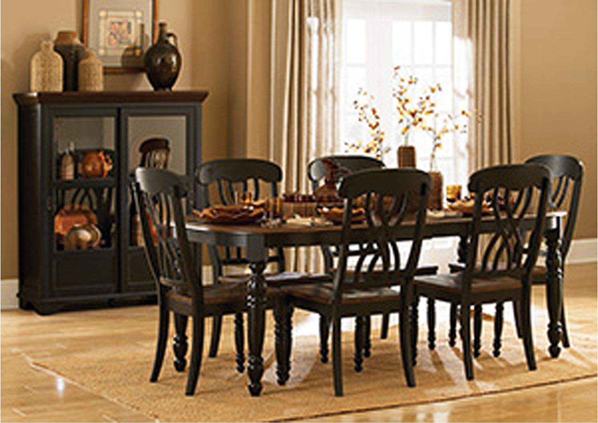 Ohana Black/Cherry Rectangular Dining Room Table w/4 Side Chairs,Homelegance