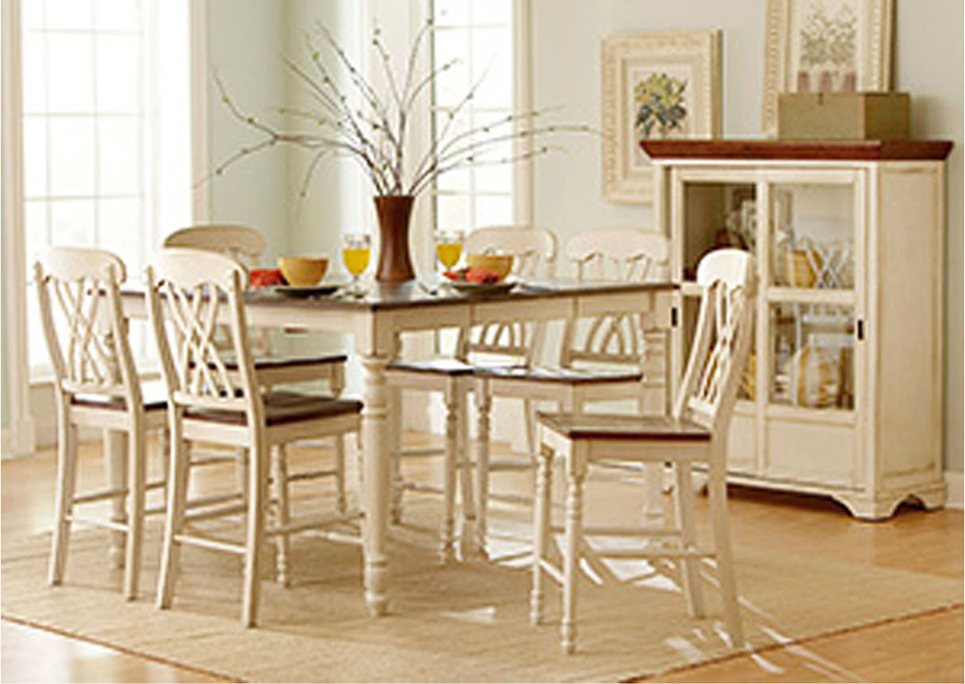 Ohana White/Cherry Rectangular Counter Height Dining Room Table W/4 Counter  Height Chairs
