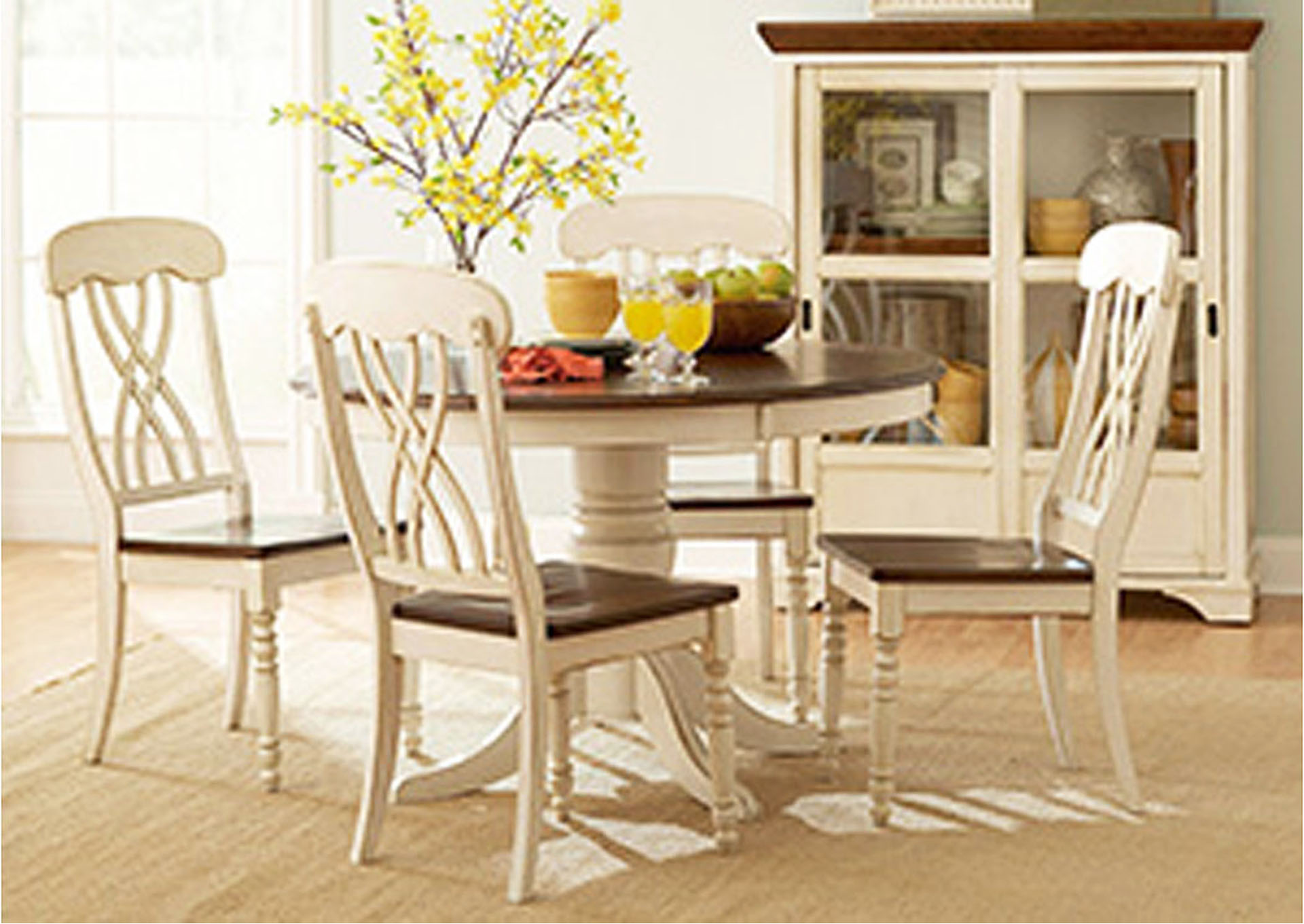 Ohana White/Cherry Round Dining Room Table w/4 Side Chairs,Homelegance