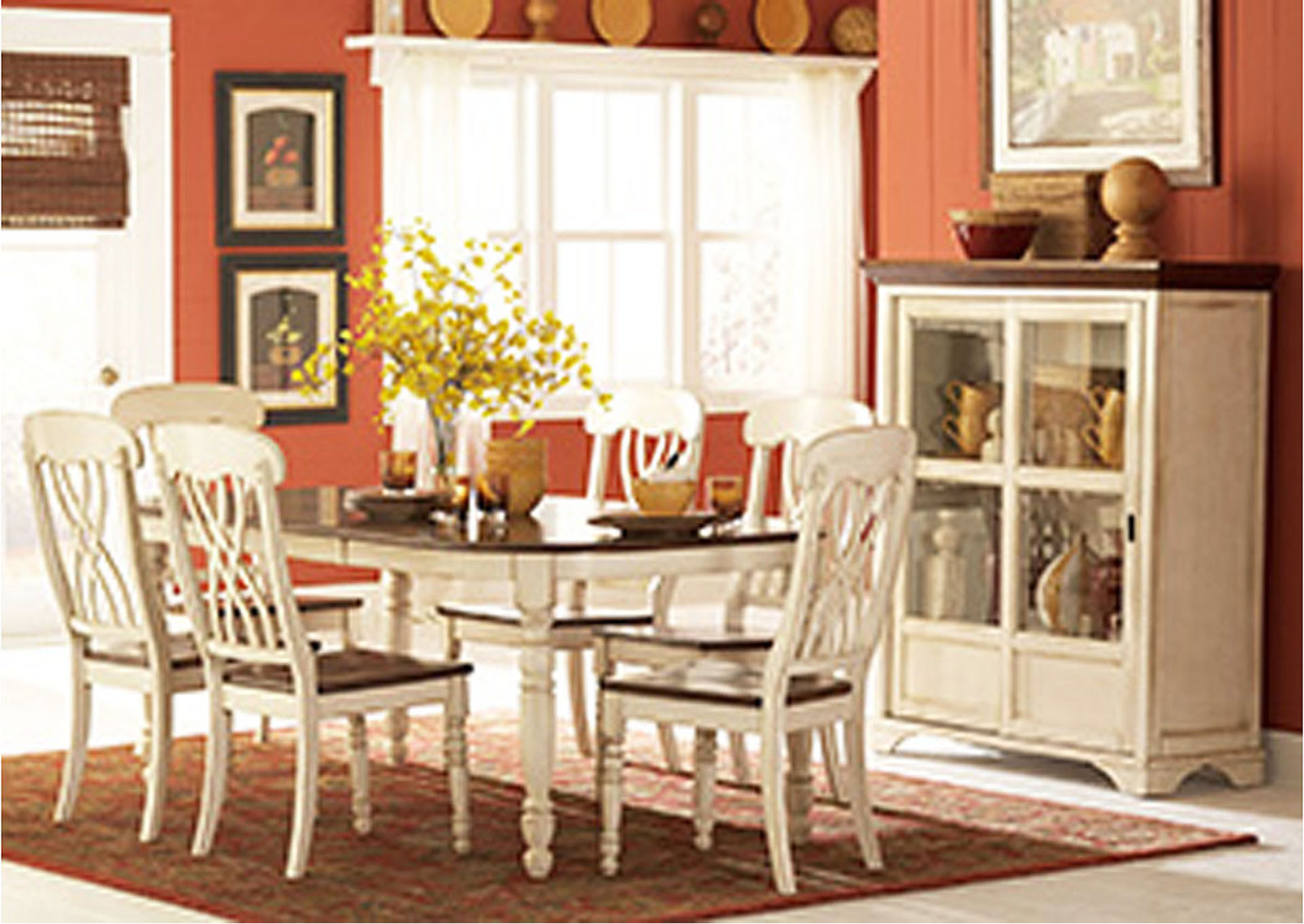 Ohana White/Cherry Rectangular Dining Room Table,Homelegance