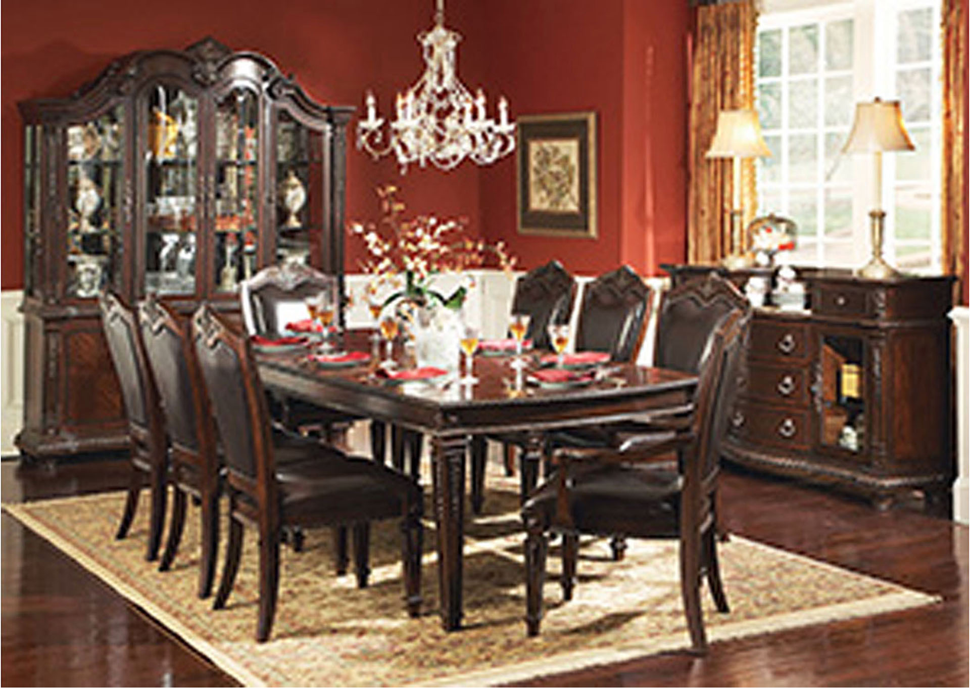 Palace Rich Brown Rectangular Dining Room Table w/2 Arm Chairs and 4 Side Chairs,Homelegance