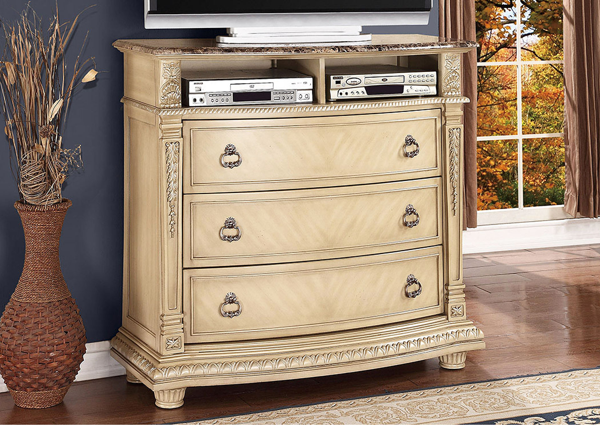Palace II White TV Chest,Homelegance