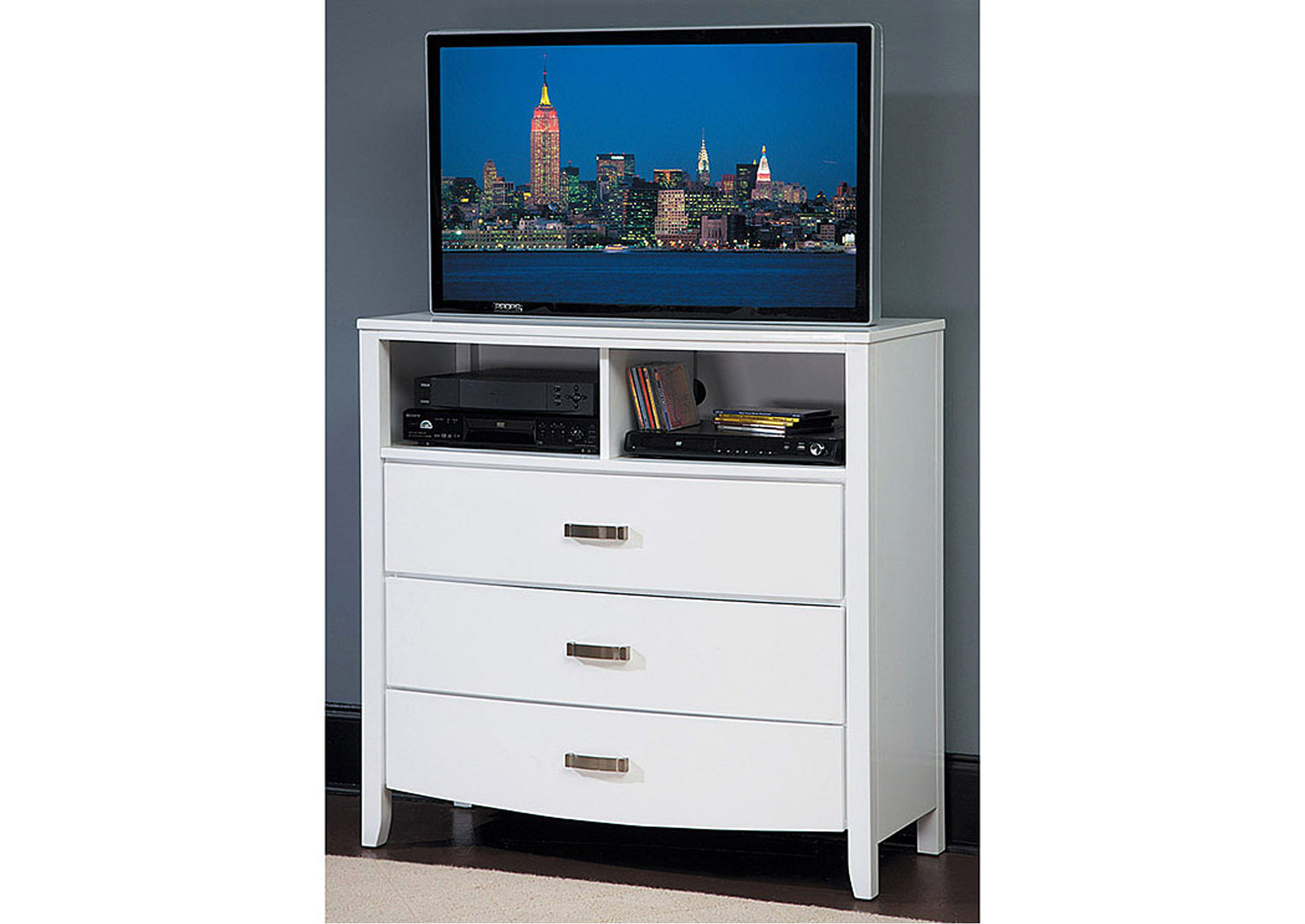 Lyric White TV Chest,Homelegance