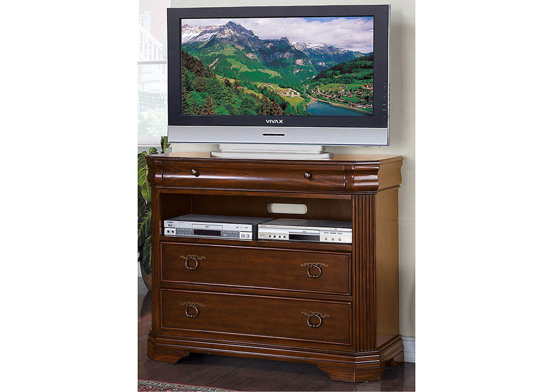 Karla Brown Cherry TV Chest,Homelegance
