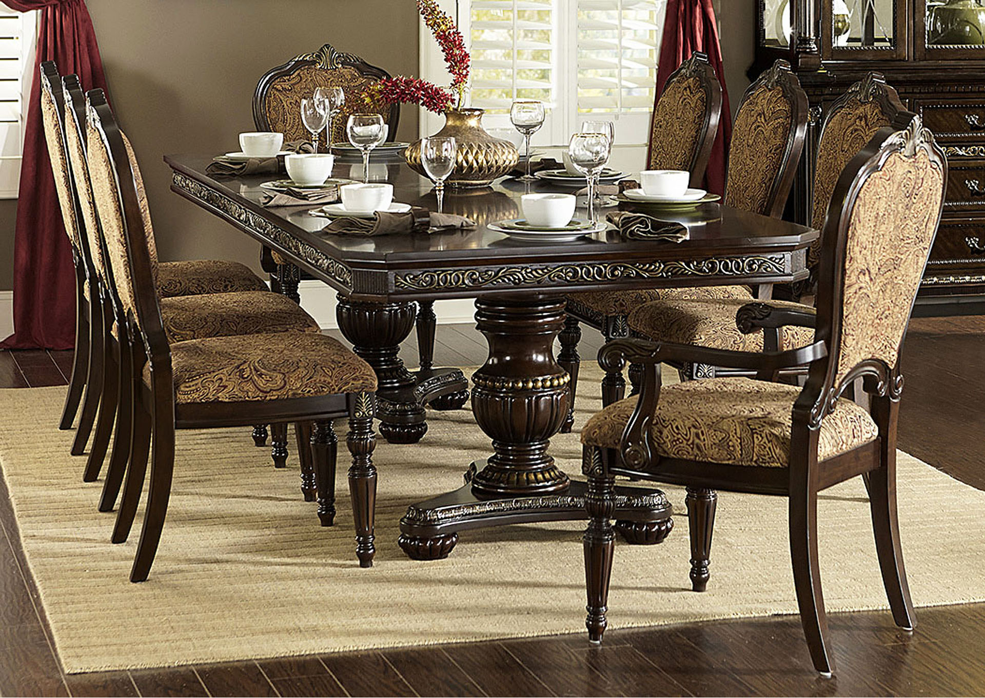 Russian Hill Warm Cherry Dining Room Table,Homelegance