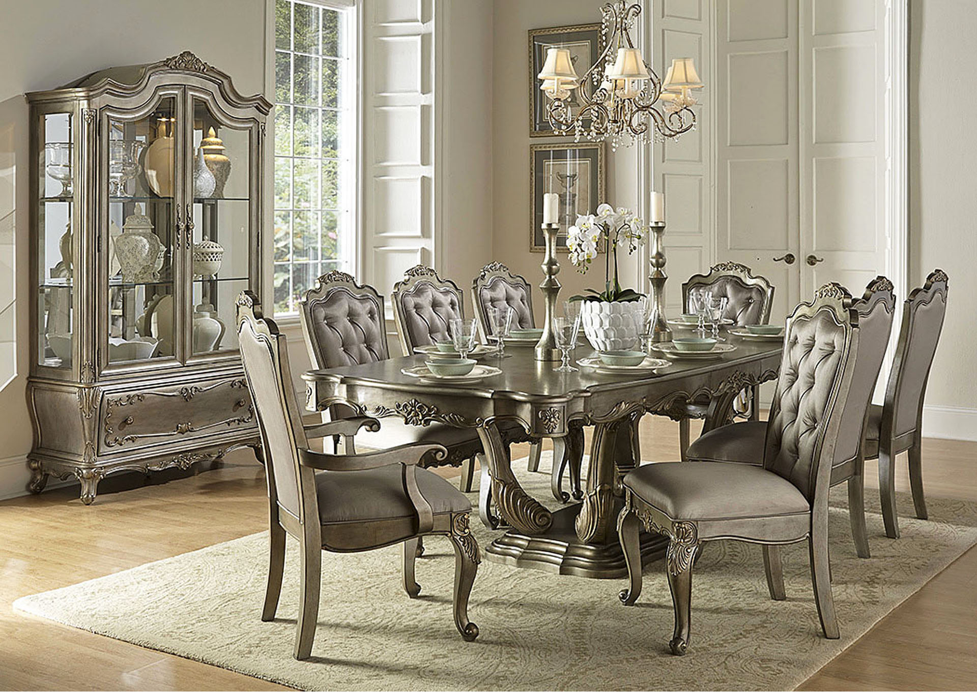 Florentina Gold Rectangular Dining Room Table,Homelegance
