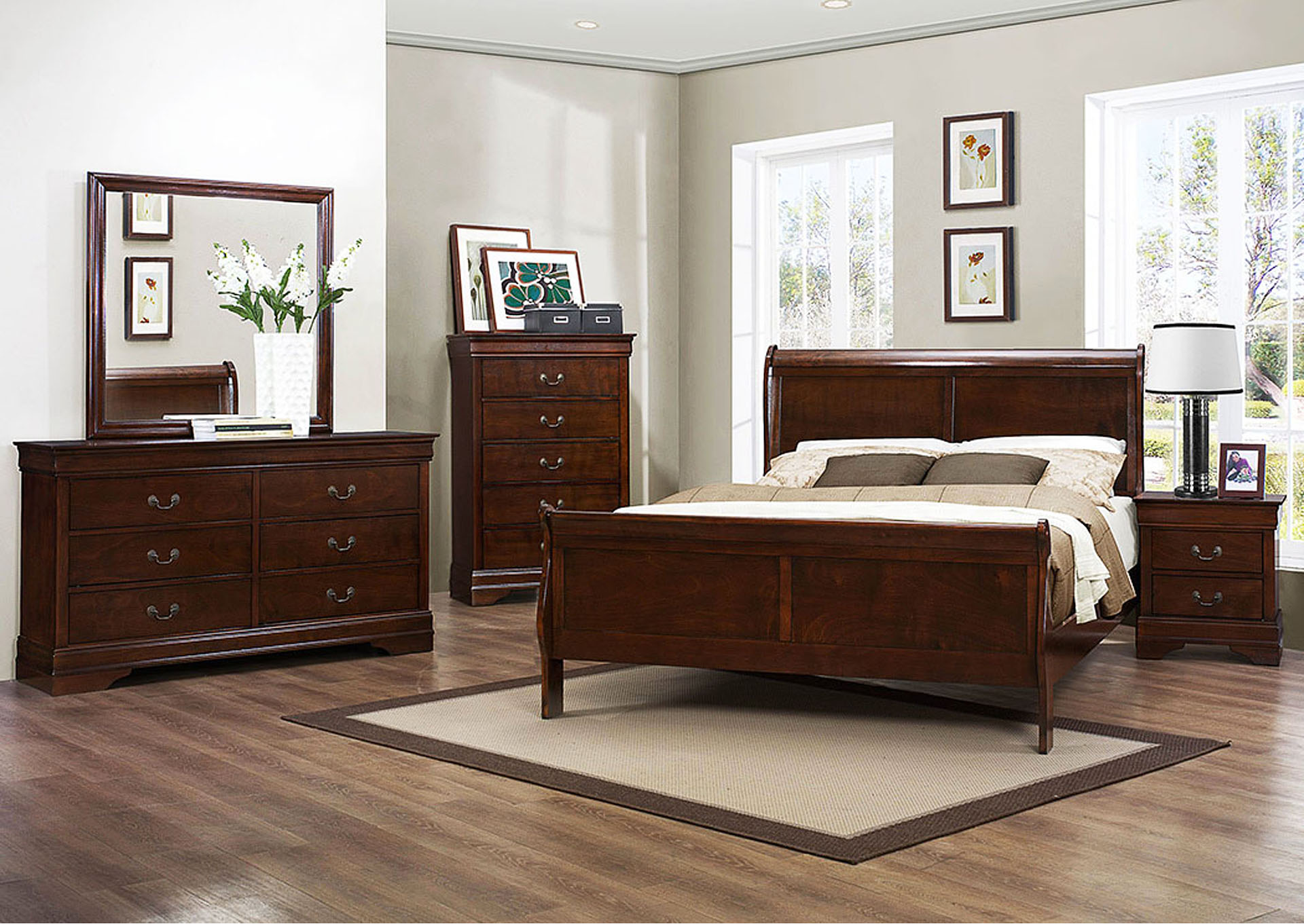 Mayville Burnish Brown Cherry Queen Sleigh Bed w/ Dresser, Mirror and Nightstand,Homelegance