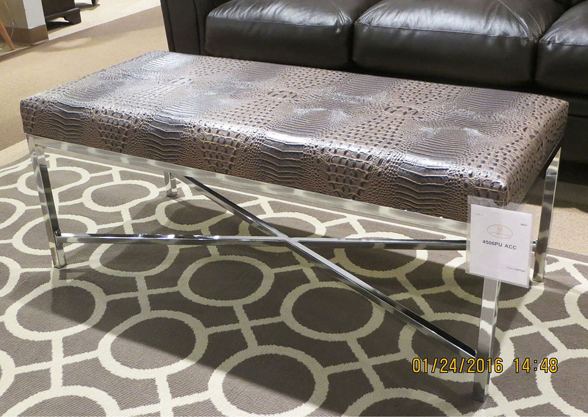 Chocolate Faux Croc Bench, Chrome Base,Homelegance