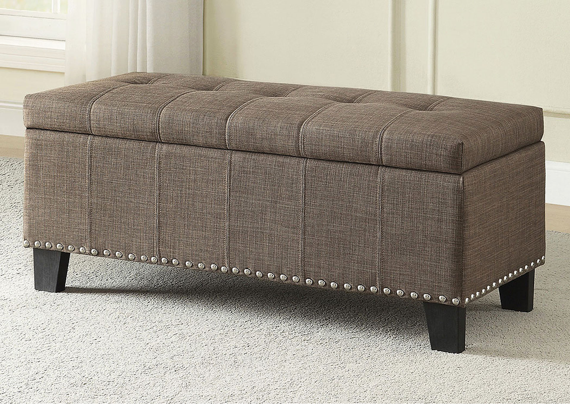 Lift-Top Storage Bench, Brown Fabric,Homelegance