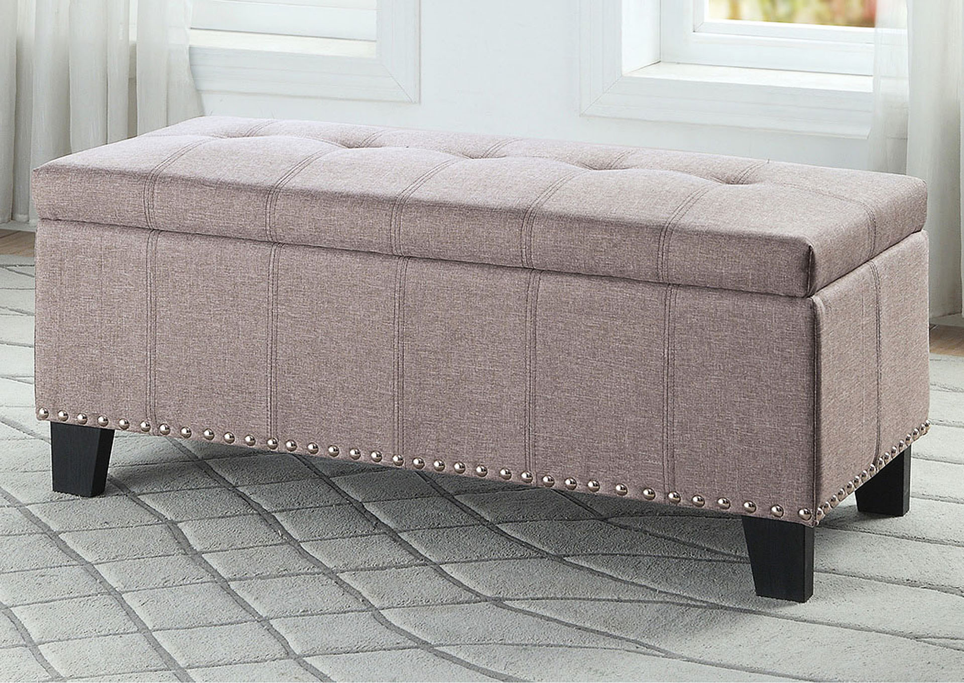 Lift-Top Storage Bench, Gray Fabric,Homelegance