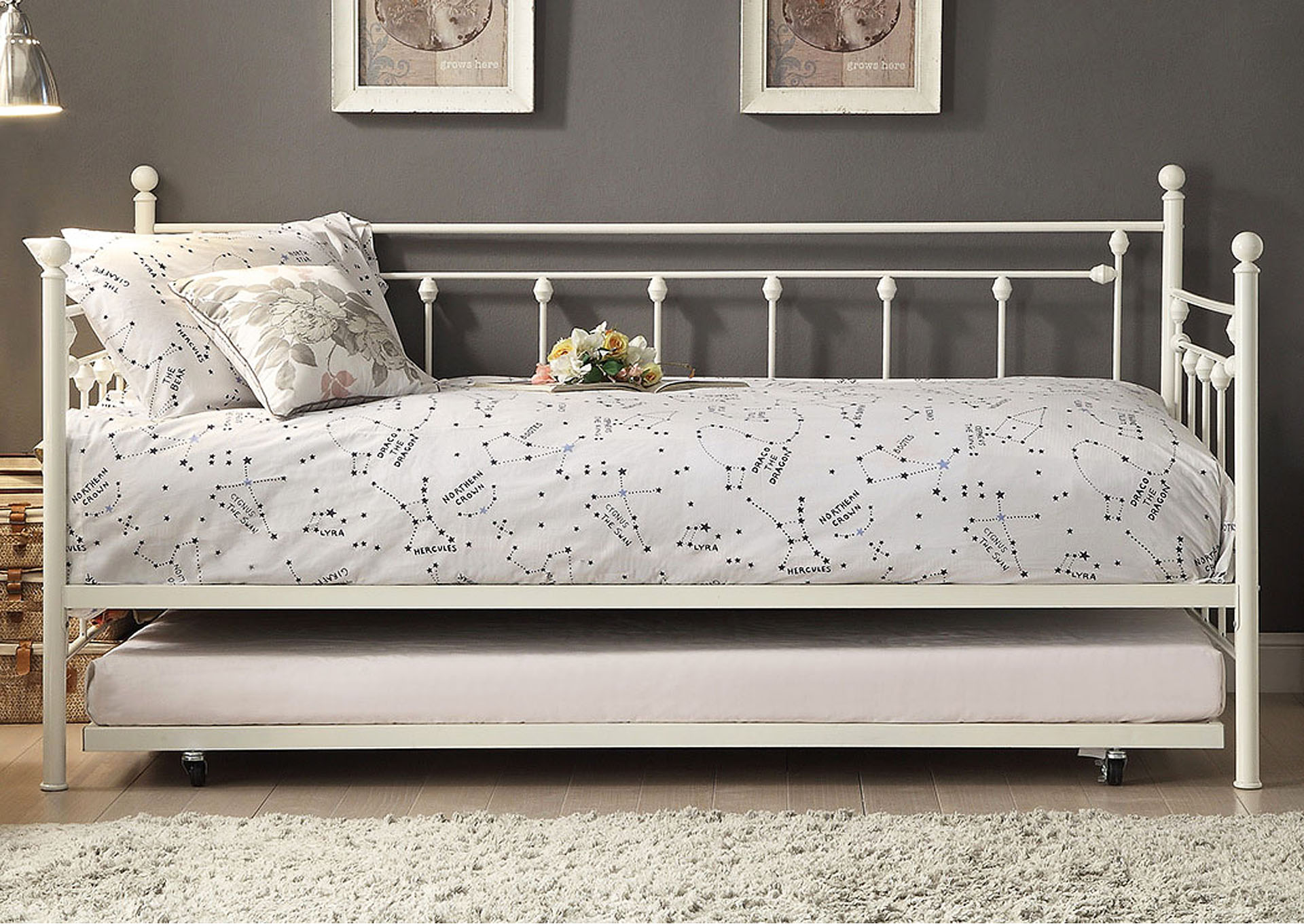 Metal Daybed w/Trundle, White,Homelegance