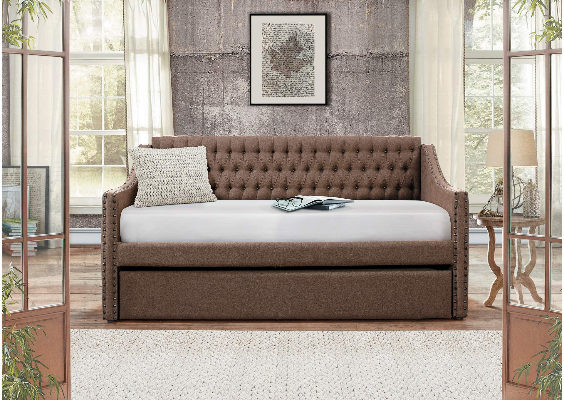 Daybed w/Trundle, Brown Fabric,Homelegance