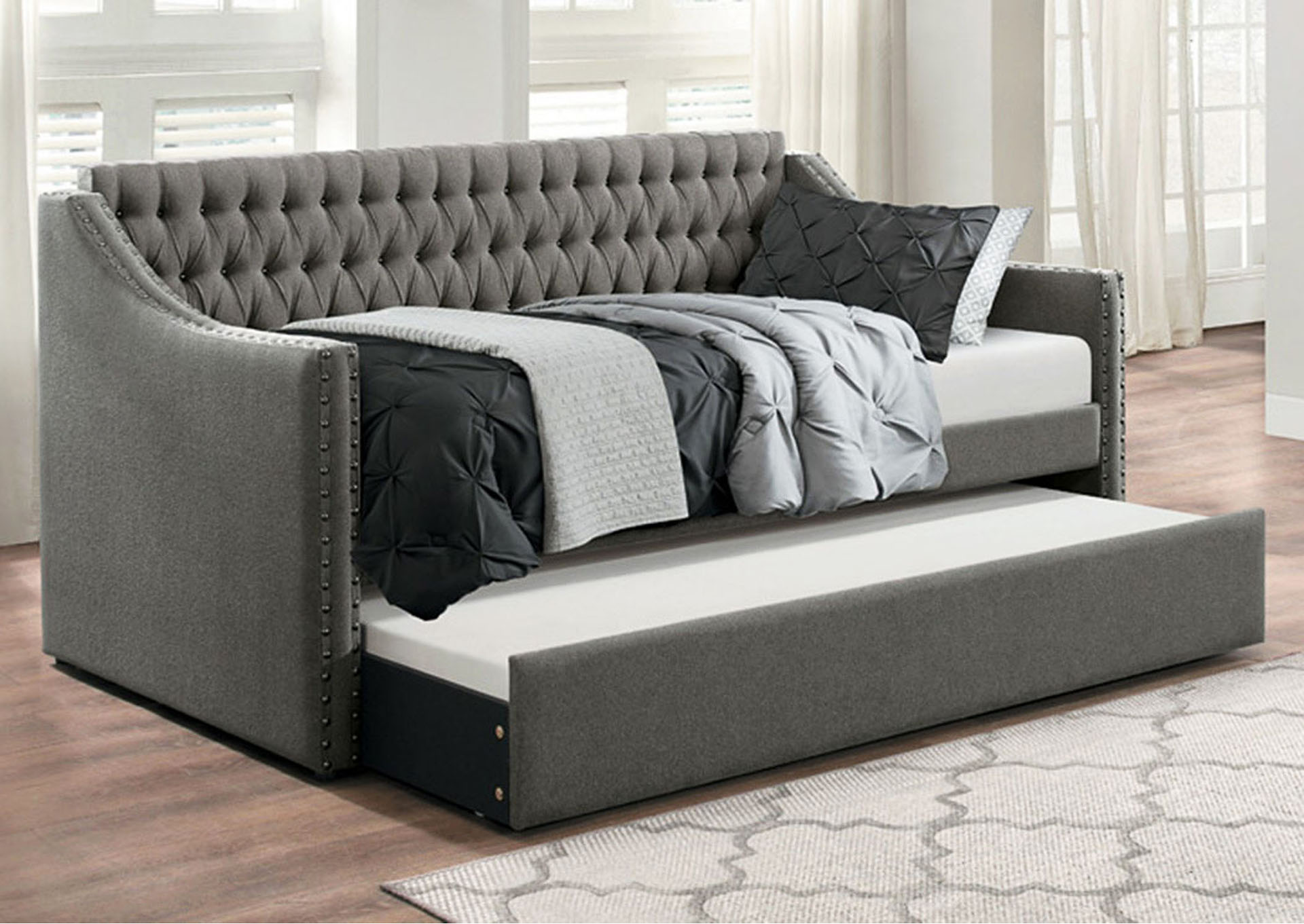 Daybed w/Trundle, Dark Gray Fabric,Homelegance